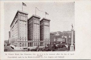 St. Francis Hotel San Francisco CA Unused c1906 Rieder-Cardinell Postcard G12