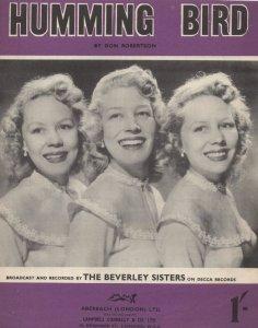 Humming Bird The Beverley Sisters 1950s Sheet Music