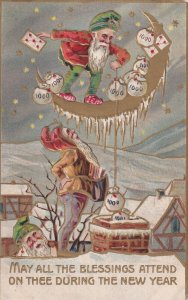 NEW YEAR, PU-1908; Elf lowering money bags through chimney from Crescent Moon