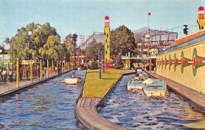 Palisades Park NJ Amusement Park Atomic Boat Ride Postcard