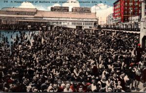 New Jersey Atlantic City Happy Crowd Of Bathers Near Alamac Pier1917