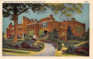 Tupper Lake New York~New High School~Shady Driveway~1920s Postcard
