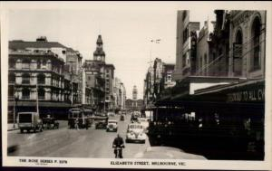 Melbourne Vic Elizabeth St Real Photo Postcard