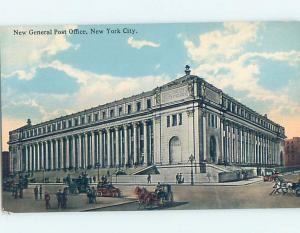 Divided-Back HORSE-DRAWN CARRIAGES AT POST OFFICE New York City NY d8803