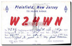 Old Postcard Telegraphie W2HWN Plainfield New Jersey Hillside Avenue Max Kunzman