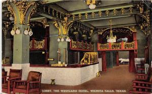 E47/ Wichita Falls Texas Tx Postcard c1910 Lobby Interior Westland Hotel