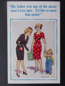 Donald McGill Postcard LITTLE BOY / SINGLE MUM - HIS FATHER...... c1950's