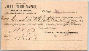 Chicago Business Postcard John A Tollman & Co. WHOLESALE GROCERS 1890 Cancel