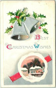 Vintage 1910 BEST CHRISTMAS WISHES Greetings Postcard Silver Bells / Holly