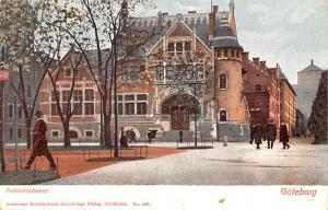 Sweden Old Vintage Antique Post Card Folkbiblioteket Goteborg Unused