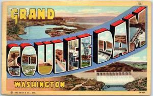 GRAND COULEE DAM Washington Large Letter Postcard Curteich Linen c1950s