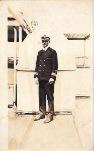 U. S. Naval Officer Uniform Aboard Ship W.W.I. RPPC Postcard