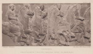 Greek Horsemen Parthenon Frieze Slabs Museum Antique Postcard