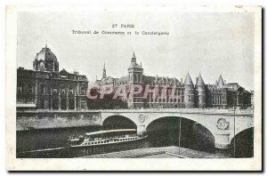 Old Postcard Paris Tribunal traded and the Conciergerie