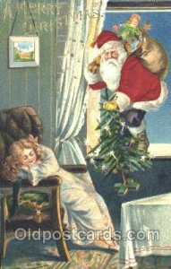 Silk Santa Claus 1908 close to perfect corners, postal used 1908, yellowing o...