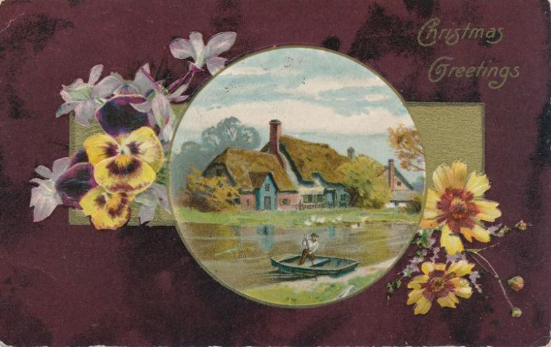 Christmas Greetings - Pansies and Thatched Roof Homes - pm 1908 Charlotte NY DB