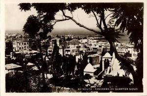 lebanon, BEIRUT BEYROUTH, Panorama du Quartier Sioufi (1950s) RPPC