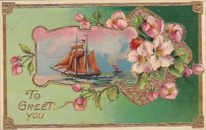 To Greet You, Sailing Vessel, Pink flowers, gold detail, PU-1912
