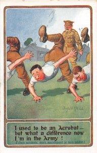 F92/ Artist Signed Postcard c1910 Donald McGill Comic Military Army 15