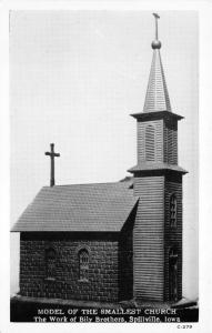 Spillville Iowa~Model of Smallest Church (from Walnut Wood)~c1940s Bankers Ad PC
