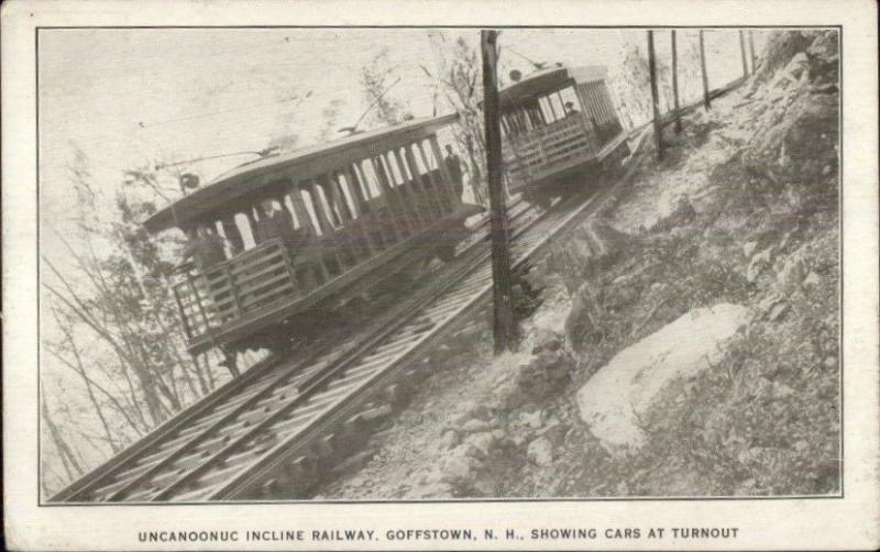 Goffstown NH Uncanoonuc Incline Train Cars c1910 Postcard
