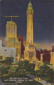 Illinois Chicago Old Water Tower And Palmolive Building By Night Curteich