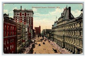Cincinnati OH, Aerial Bird's-Eye Government Square, Vintage Ohio c1915 Postcard