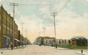Ashland Wisconsin~Second Street West~10 Whiskey Wine Bottles Billboards~1914