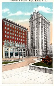 New York Buffalo Telephone and Iroquois Building Curteich