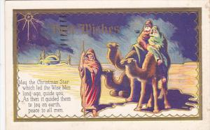 CHRISTMAS; Best Wishes Poem, Three wise men following shining star on camels,...