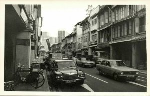 singapore, Unknown Street Scene, Car Bike (1960s) Real Photo