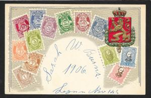NORWAY Stamps on Postcard Embossed Shield Used c1906