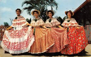 Panama, Beautiful young ladies, Polleras Montunas national costume dress 1961