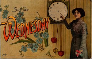 RARE - OLD VINTAGE - SEE ME WEDNESDAY - VINTAGE POSTCARD - PC - CLOCK