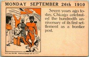 Chicago, Illinois Postcard MONDAY SEPTEMBER 26TH 1910 Historical Calendar Adv.