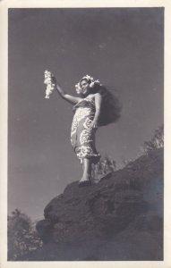 Tahiti Beautiful Girl Real Photo RPPC Postcard A10