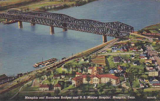 Tennessee Memphis Harrahan and Memphis Bridges and U S Marine Hospital Curteich