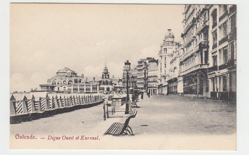 P2205, old postcard belgium view ostende-digue ouest et kursaal