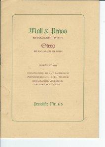 MC-154 - 1950's Steeg Mall & Prass Wein Price List, vintage 1950's German