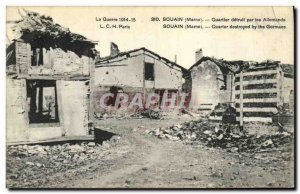 Old Postcard Army Souain Quarter detuit by Germans
