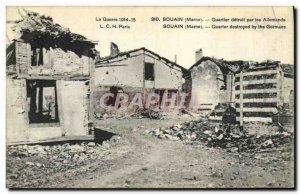 Old Postcard Army Souain Quarter detuit by Germans
