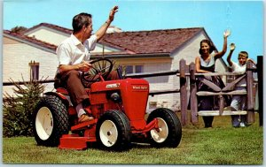 1960s Chrome Advertising Postcard WHEEL HORSE RIDING LAWNMOWER / Blank Back