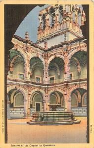Capitol in Querétaro, Mexico Linen Postcard pm 1943