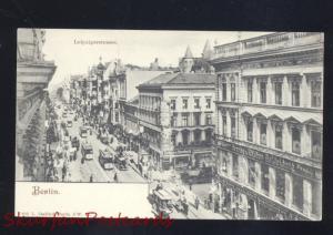 BERLIN GERMANY LEIPZIGERSTRASSE DOWNTOWN STREET SCENE ANTIQUE VINTAGE POSTCARD