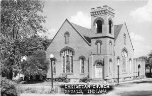 Christian Church Shoals Indiana 1940s RPPC Photo Postcard 1182