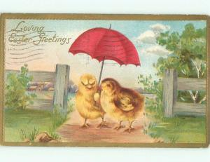 Pre-Linen Easter HUMANIZED CHICK HOLDING UMBRELLA AB3749