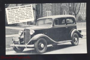 1933 CHEVROLET SEDAN HANCOCK MARYLAND CAR DEALER ADVERTISING POSTCARD CHEVY