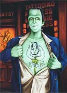 The Munsters Herman Lily Tattoo by Isabel Samaras Large Postcard