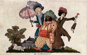 PC CPA ARABIAN TYPES AND SCENES, SCHWARZER, Vintage Postcard (b17416)