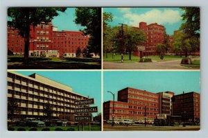 Louisville KY-Kentucky, Four Hospitals, Chrome Postcard